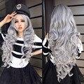 Женщины камень серый с вьющимися волнистые волосы полный косплей лолита ну вечеринку парик