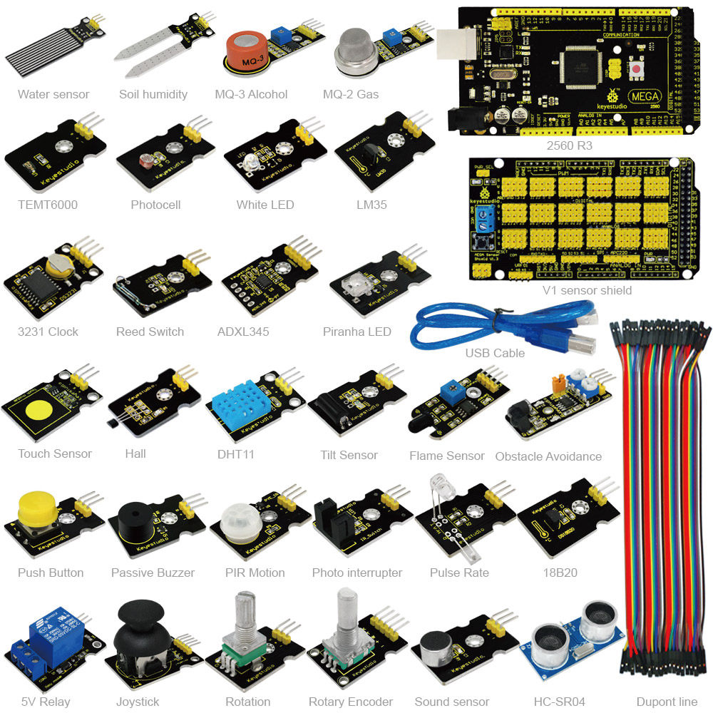 New Keyestudio Sensor Starter Kit With Mega 2560 For Arduino Education Project +Shield V1+Sensors+Dupont cable+PDF(online) fastrax up501 gps shield v1 2 for arduino works with official arduino boards