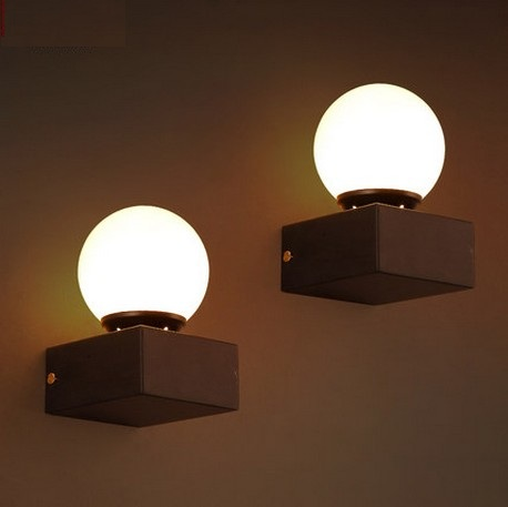Antique Loft Style Vintage LED Wall Light Fixtures Iron Glass Lampshade Wall Sconces For Bedside Wall Lamp Indoor Lighting kitchen aisle stair light wall lamp vintage iron fabric lampshade decor sconces indoor home lighting gift e14 3w led bulb 220v