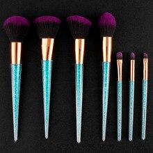 New 7pcs Makeup Brush Set Rhinestone Glitter Blue Crystal Diamond Pro Highlighter Brushes Concealer Make Up Brush Cosmetic Tools printio сумка the exploited