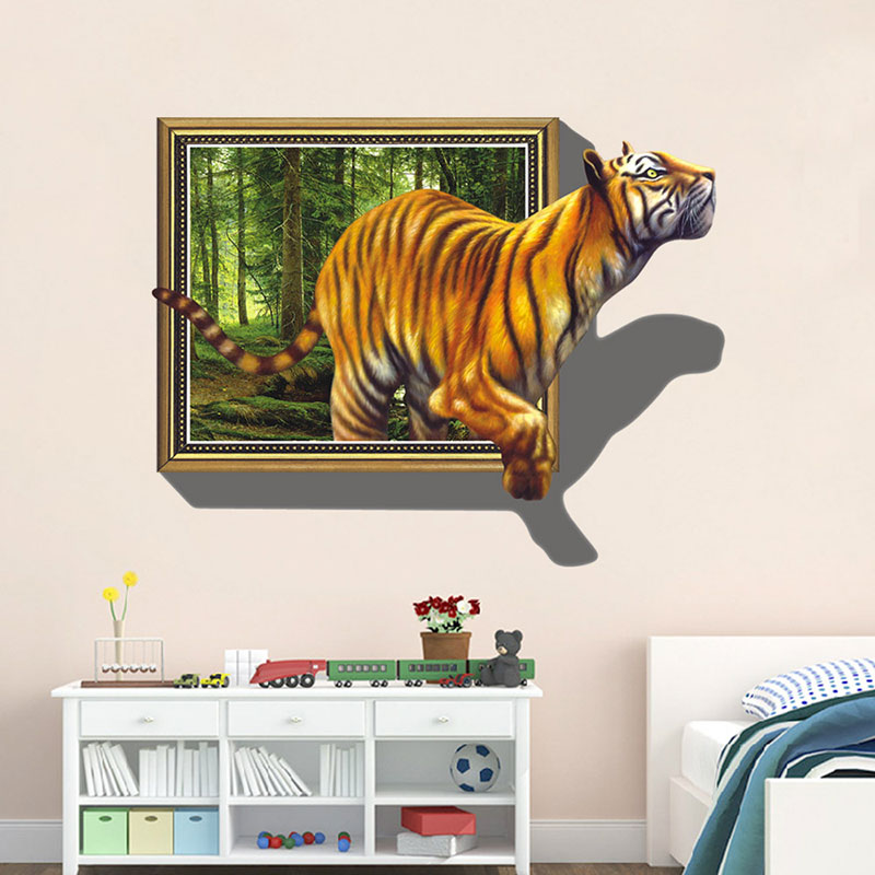 creative home decor 3d wall stickers tiger pattern for living room