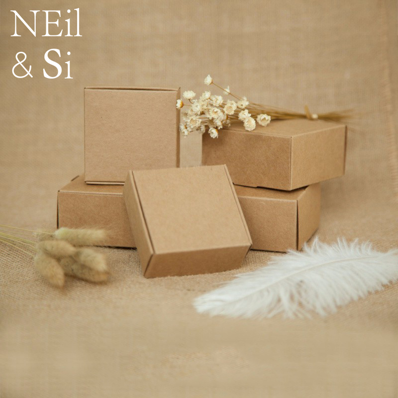 Gift Paper Box Handmade Soap Craft Wedding Party Favor Packaging Vintage Brown Kraft Boxes Free Shipping