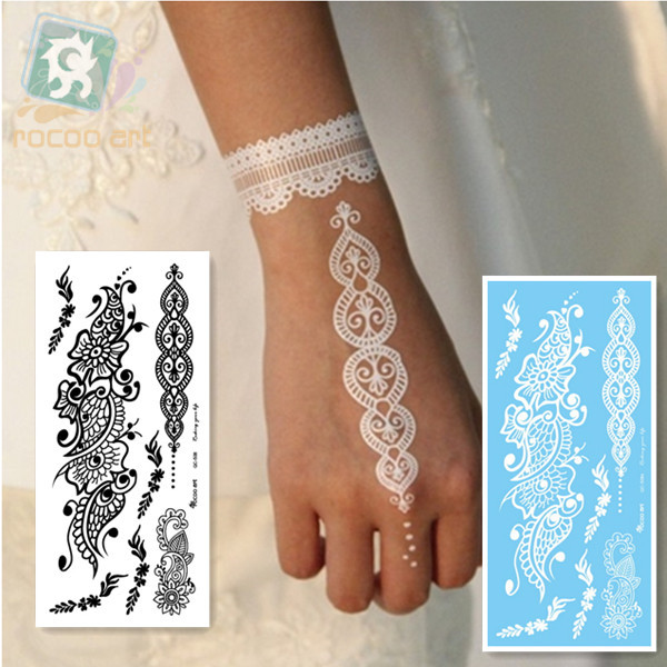 c5ab504839c23 LS-508/Rocooart eco-friendly henna makeup temporary Indian flower tattoo  black white lace bracelet tattoo sticker for hands