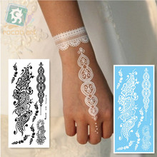 LS-508/Rocooart eco-friendly henna makeup temporary Indian flower tattoo black white lace bracelet sticker for hands