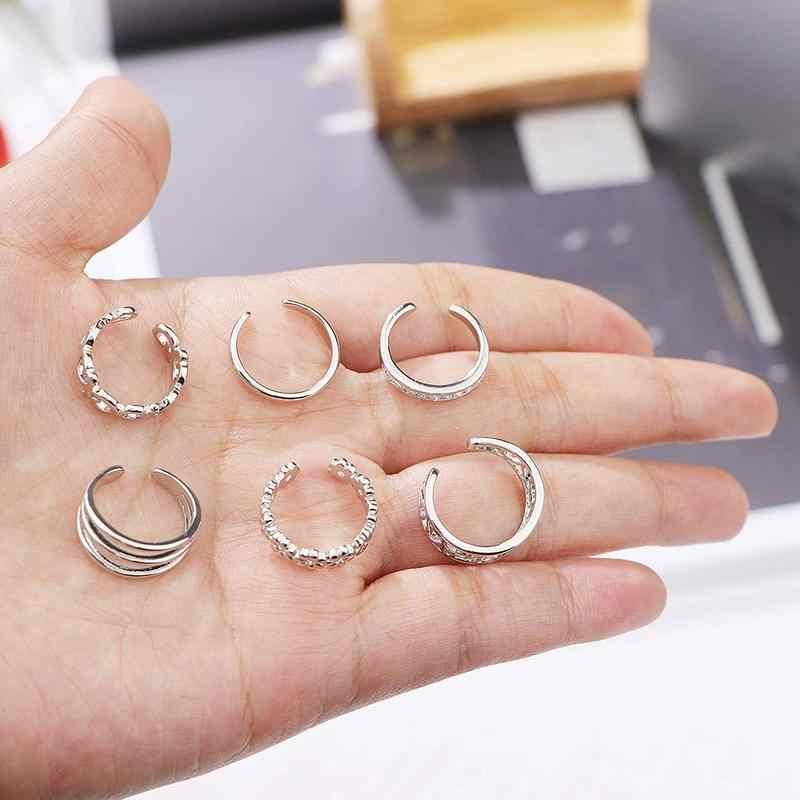 9PCS ฤดูร้อน Beach Knuckle แหวนเท้าเปิดแหวนชุดสำหรับหญิงสาวดอกไม้ลายนิ้วมือแหวนปรับเครื่องประดับขายส่ง