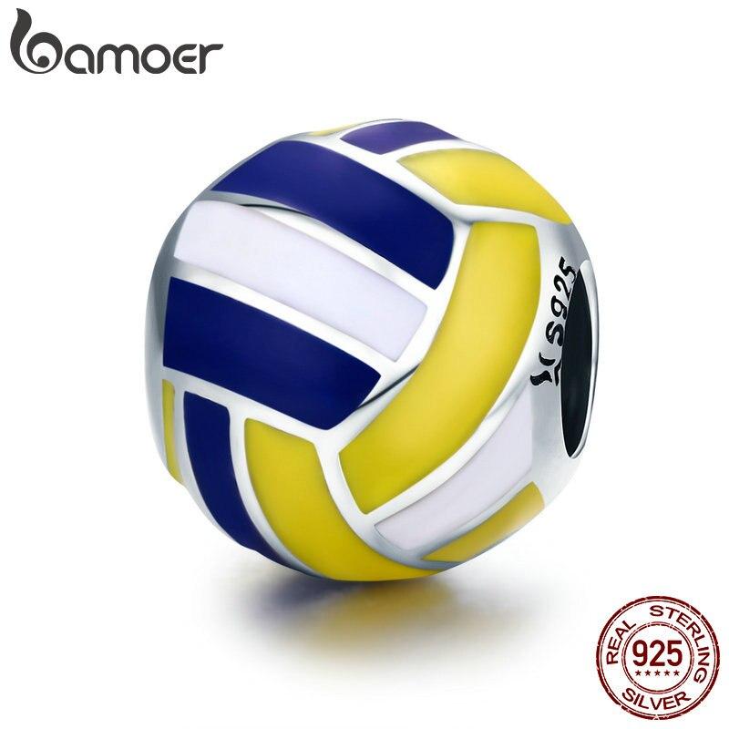 BAMOER Authentische 100% 925 Sterling Silber Sport Ball Volleyball Liebe Charme Perlen fit Frauen Armband DIY Perlen Schmuck SCC448
