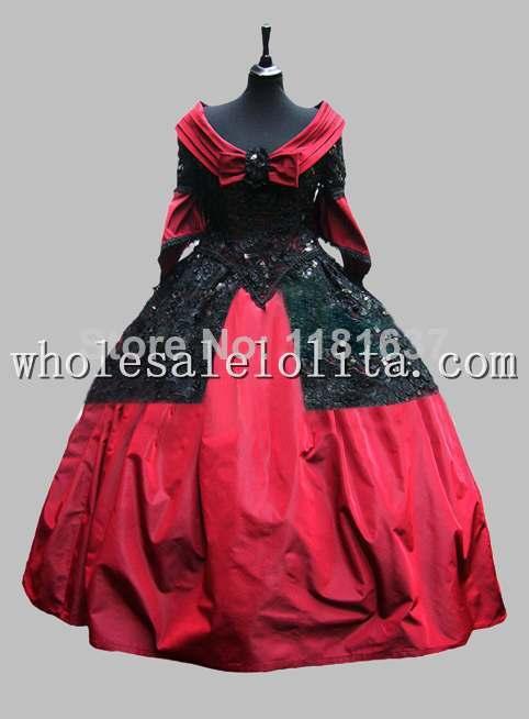 Robe de bal victorienne de luxe en Satin et paillettes rouge vin robe de soirée Costume de carnaval de venise robe Cosplay