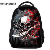 RUNNINGTIGER Character Skull Printed Backpack Men Children School Bags For Boys Fashion Nylon Kids Backpack