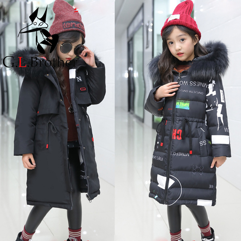 2018 Winter Thicken Big Girl Children Down Coat Outerwear Real Fur Girls Duck Down Jackets Long Overcoat Parkas Hooded Coats покрывало на кресло les gobelins mexique 50 х 120 см