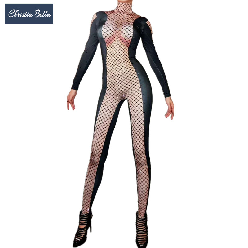 Christia Bella Sexy Crystals Bodysuit Women Nightclub DJ DS Stretch Jumpsuit Long Sleeve Leotard Stage Outfits Pole Dance Wear