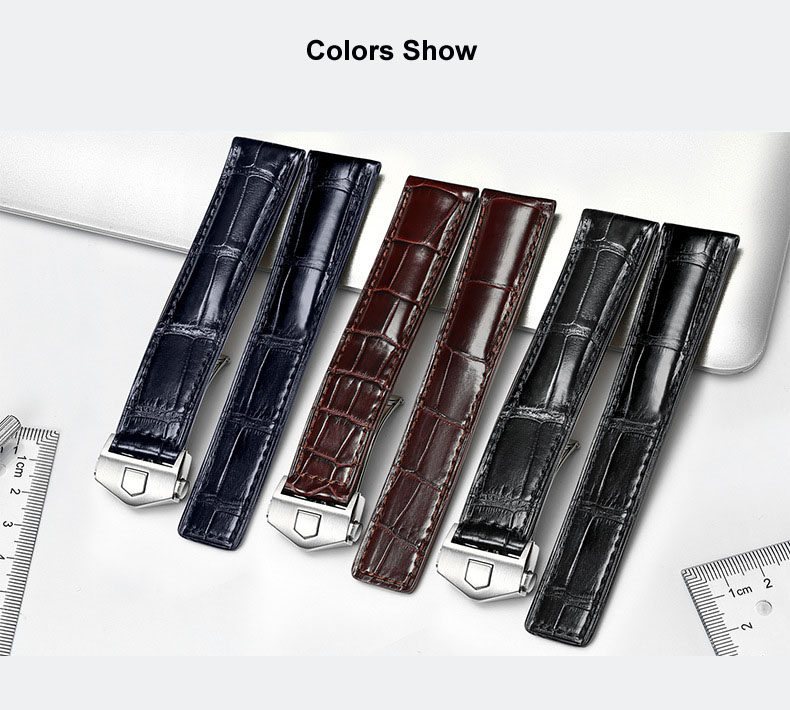 Alligator Leather Watch Bands Watches Universal 19 20 21mm Black Brown Genuine Leather Watchbands for omega TAG Heuer Longines часы longines