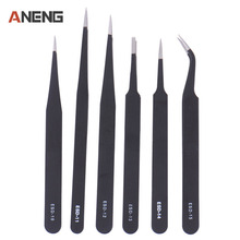 6pcs/set MultiFunctional Safe Anti-static Stainless Steel Tweezers Repairing Maintenance Tools ESD Tools Hand Tools Hand Tools