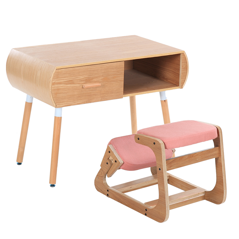 modern children furniture table and chair set for students kids furniture solid wood study desk table with kneeling chair wooden