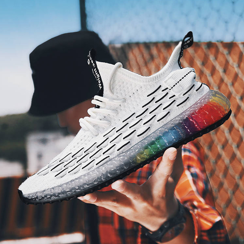 Men Flyknit Sneakers Running Shoes Men Casual Shoes Man Trainers Walking Shoes Male Outdoor Footwear Tenis Masculino Adulto in Men 39 s Casual Shoes from Shoes
