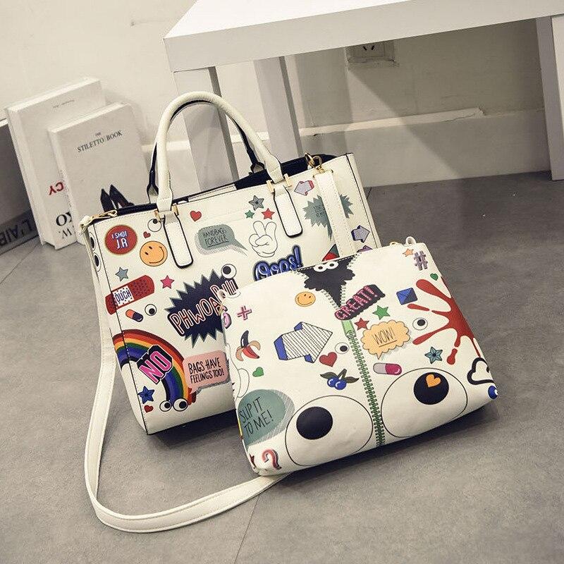 2018 Fashion Girls Handbags Graffiti Female Day Clutches For Women Crossbody Bags PU Leather Ladies Shoulder Bags Young Cartoon