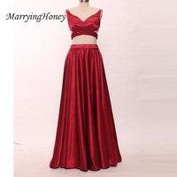 Elegant Burgundy V Neck Spaghetti Straps Long Prom Dresses Backless Floor Length Long Evening Gowns Real