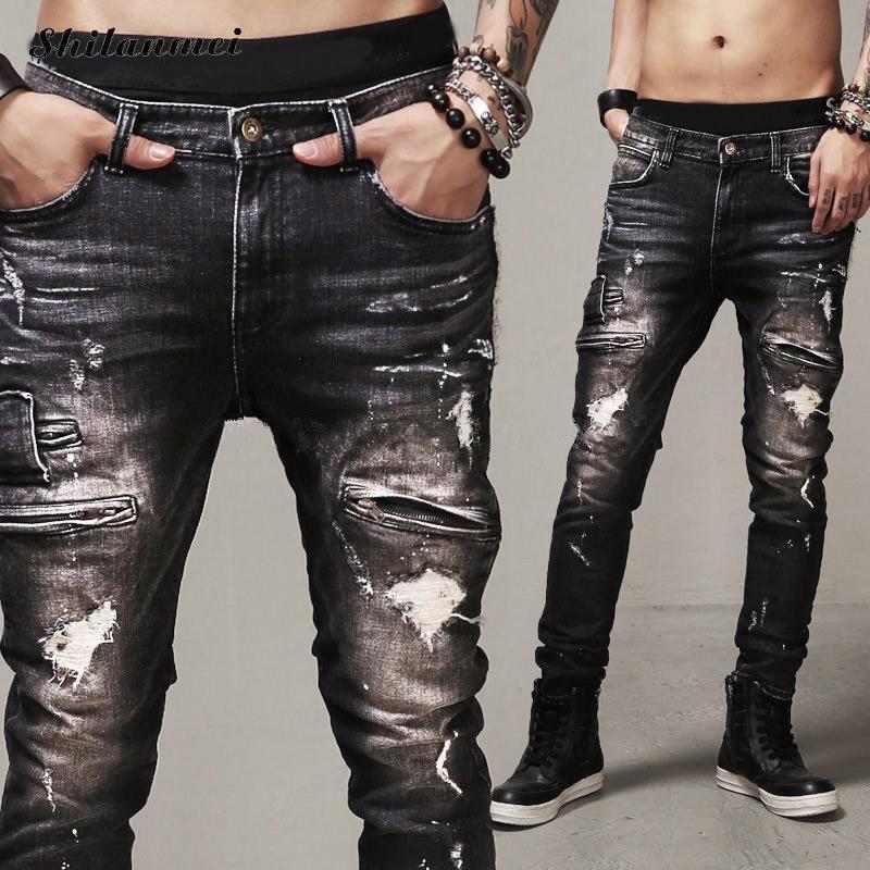 Mens Patch Jeans Brand 2016 Zipper Patchwork Distressed Biker Ripped Hip Hop Style Straight Jeans Warm Classic Black Denim Pant