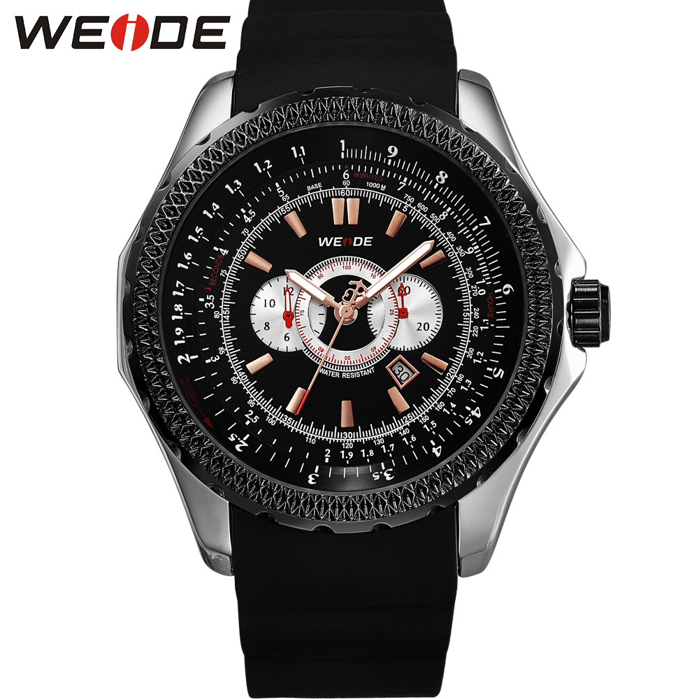 WEIDE Luxury Brand Men Watch Quartz Movement 3ATM Water Resistant Silicone Strap Outdoor Sport Watches Big Dial Gift Box For Men