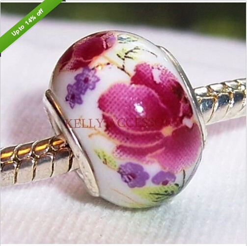 Hot 14X9mm Silver Plated Velvet Glass Big Hole Loose Beads fit European Bracelet