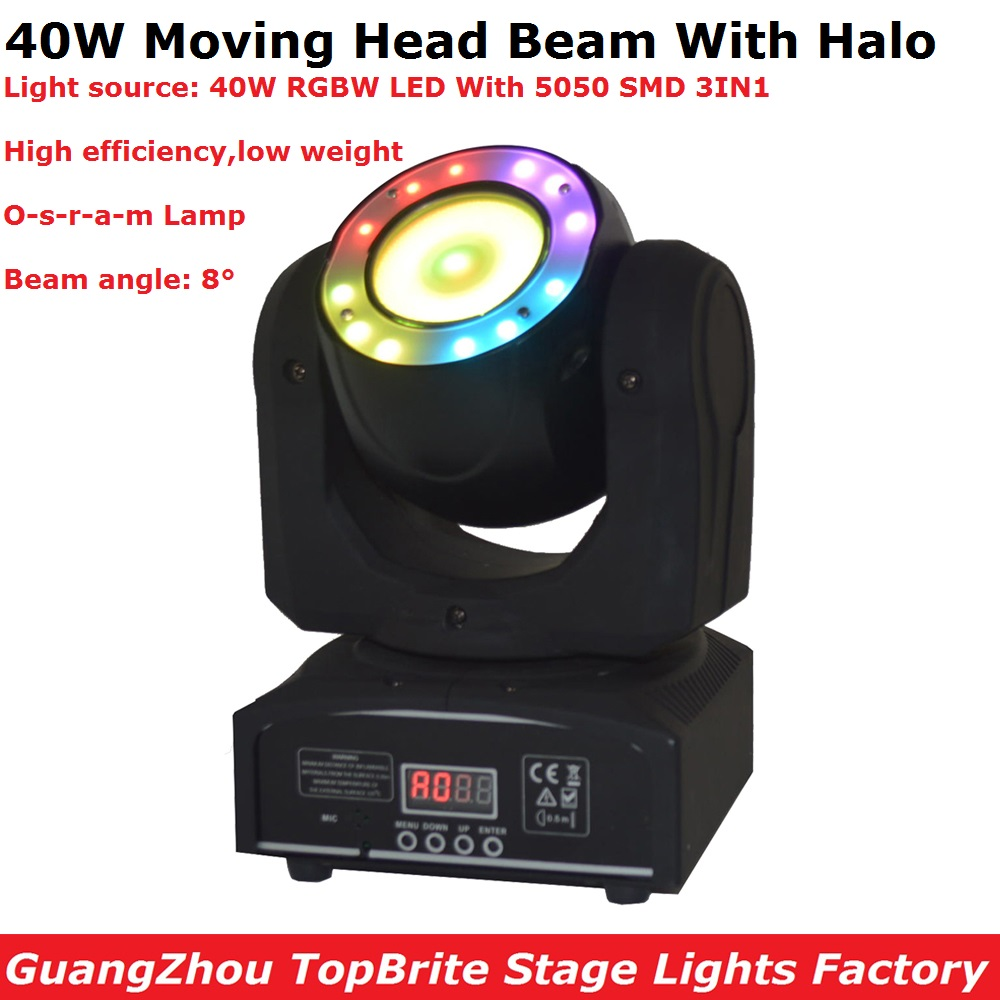 1Pcs/Lot Moving Head Beam Lights 40W RGBW 4IN1 LED Moving Head Stage Lights With SMD 5050 DMX 16/21 Channels Fast Shipping
