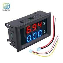 0.28 calowy Mini woltomierz cyfrowy amperomierz dc 100V 10A woltomierz miernik prądu Tester Panel czerwony niebieski podwójna lampa led wyświetlacz