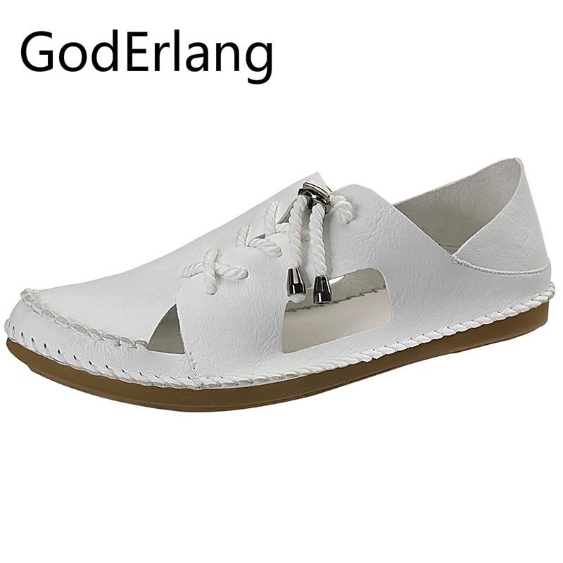 GodErlang Для мужчин пляжные сандалии ручной работы кожаные сандалии для Для мужчин 2018 Лето черный, белый цвет КОРИЧНЕВЫЙ Для мужчин обувь спорт... ...