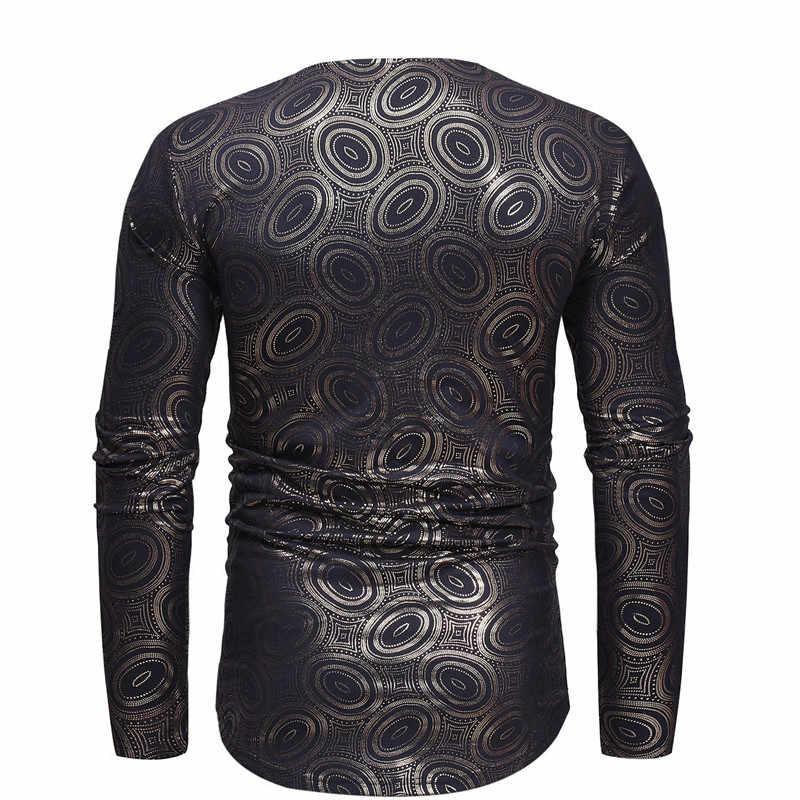 Golden Bronzing Manga Comprida Camiseta Homens 2018 Outono Nova Africano Dashiki Imprimir Mens Camisa De Vestido de Roupas Africano Tee Camisa homme