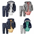 Otoño e invierno los niños ropa del bebé coat + body + pant 3 unids ropa del bebé ropa infantil niño conjunto, bebes roupas meninos