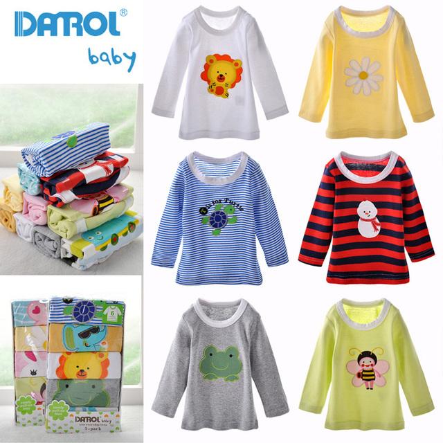 5 Peças/lote DANROL Algodão Infantil T-Shirt Do Bebê Dos Miúdos Dos Desenhos Animados Tee Bordado em Torno do Pescoço Longo Da Luva Do Bebê Das Meninas Dos Meninos T Camisa V30
