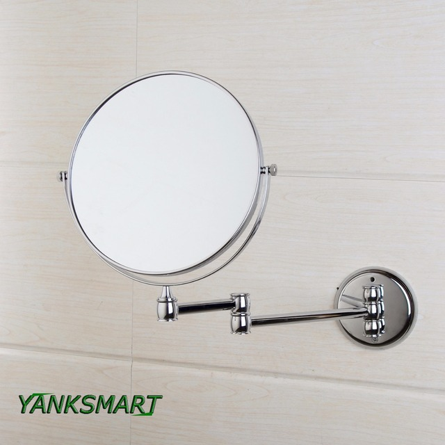 Yanksmart Chrome Round Double Sided 3x Magnifying Mirror 8 Wall Vanity Bathroom