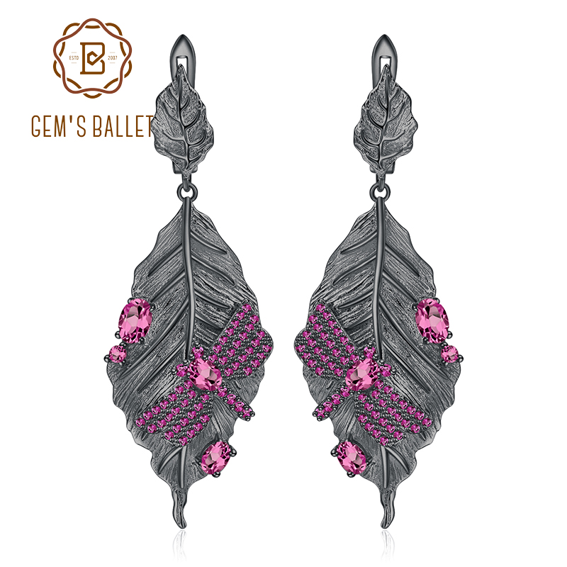 GEM S BALLET 1 76Ct Natural Rhodolite Garnet Earrings 925 Sterling Silver Handmade Long Leaves Drop