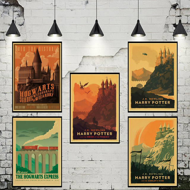 Vintage poster Harry Potter Hogwarts Express Diagon Alley Hogsmeade Kraft paper wall Movie Posters home decor