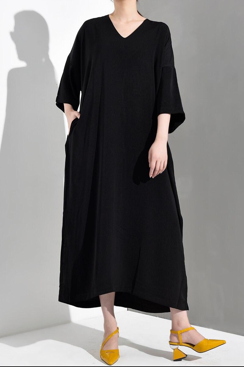 New Fashion Style V-Neck Three-quarter Big Size Long Dress Fashion Nova Clothing