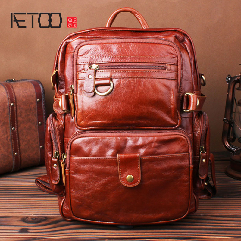 AETOO Shoulder bag leather small backpack layer first layer cowhide bag retro leisure travel backpack men and women bag aetoo retro shoulder bag genuine handmade men women casual travel backpack large capacity first layer leather