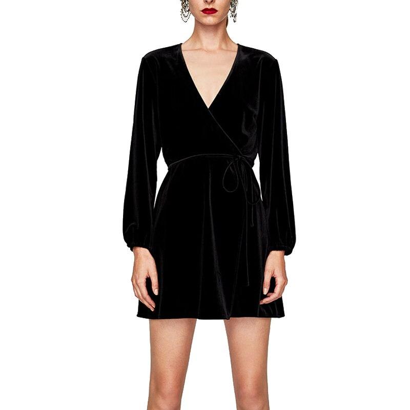 Elegant V Neck Wrap Dress Women Winter Long Sleeve Velvet Dress Femme 2018  Short Party Dresses Robe Hiver-in Dresses from Women s Clothing on  Aliexpress.com ... 510ec917dcb6