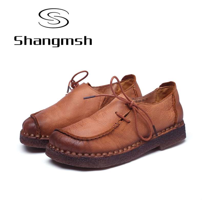 Shangmsh Fashion Brand Flat Shoes Genuine Leather Retro Handmade Casual Shoes Women Soild Lace-up Loafers Moccasin Large Size fashion brand genuine leather shoes for women casual mother loafers soft and comfortable oxfords lace up non slip flat moccasins