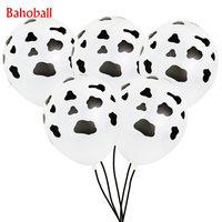 10 Uds 12 pulgadas de dibujos animados animales estampado de vaca negro globos de látex para granja tema decoraciones para fiesta de cumpleaños niños suministros de baño para bebé