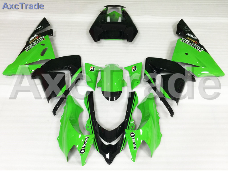 Motorcycle Fairings Kits For Kawasaki Ninja ZX10R ZX-10R 2004 2005 04 05 ABS Plastic Injection Fairing Bodywork Kit Green Black for 2002 2005 kawasaki ninja zx9r zx 9r motorcycle rear passenger seat cover cowl black 01 02 03 04 05