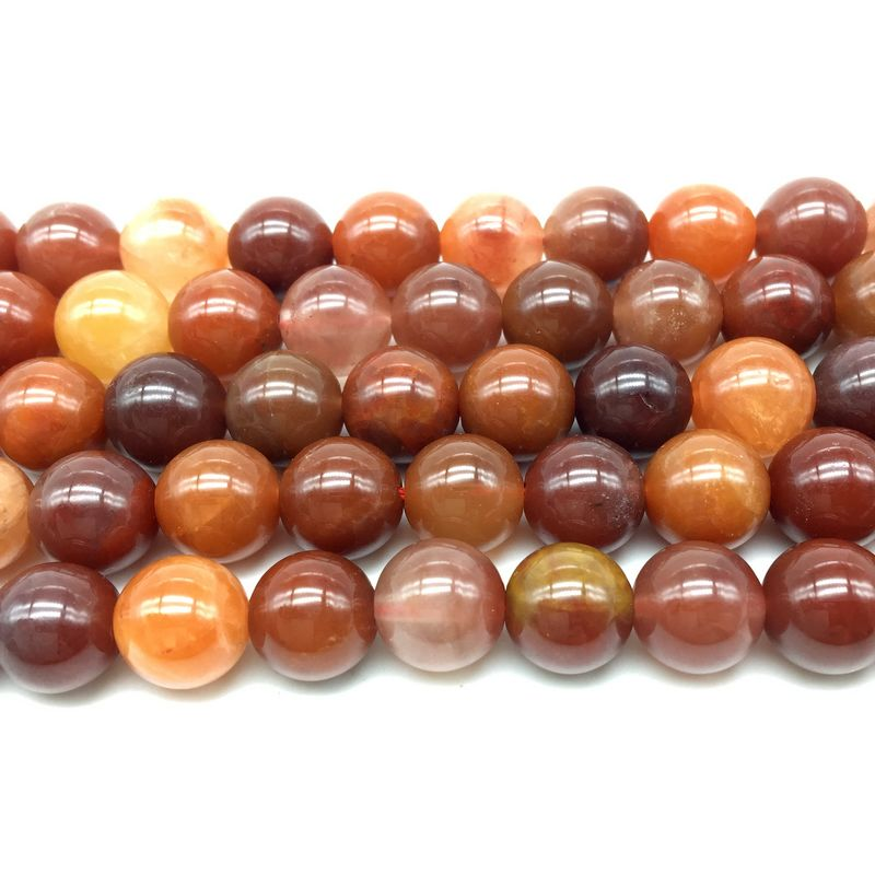 Natural Orange Red Crystal Hair Line Stone Round Loose Jewelry Beads 8 mm 10 mm DIY Bracelet Necklace Earring etc Rare Stone