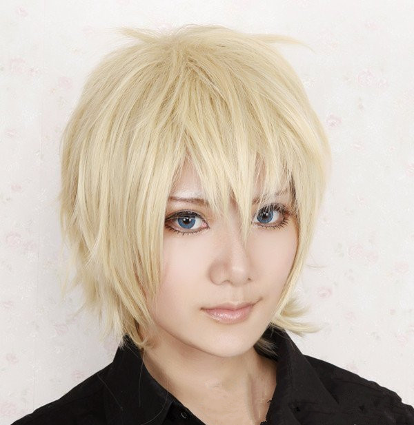 Axis Powers Short Light Blonde Synthetic Men's Cosplay Wig for Halloween