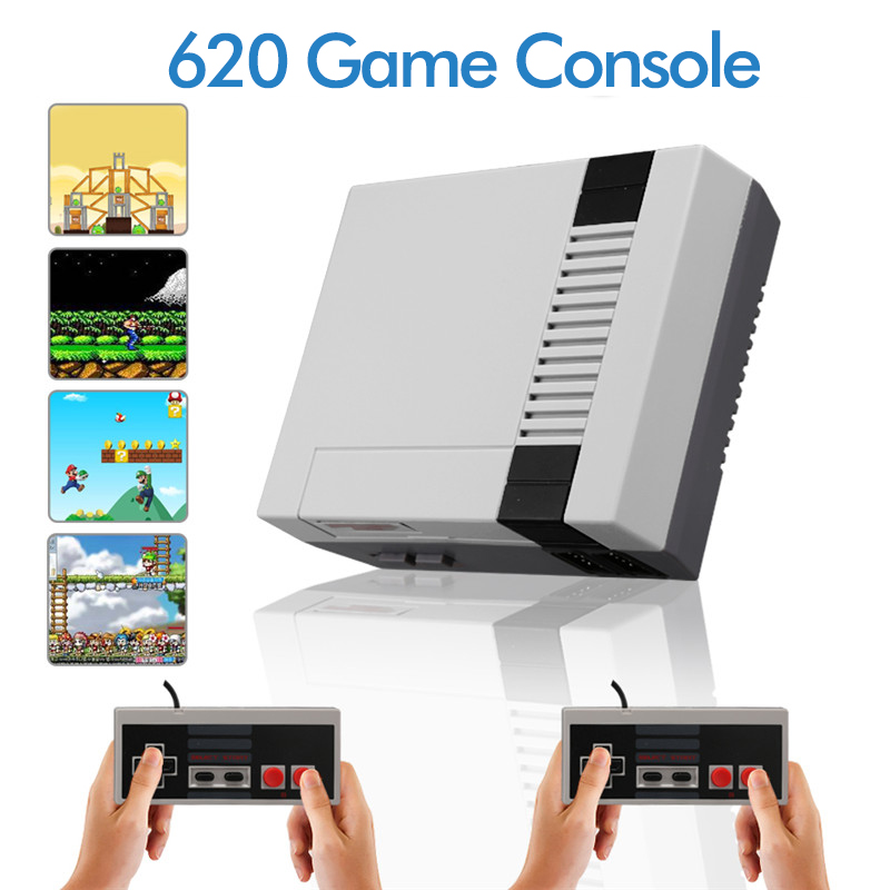 Handheld 620 8 bit classic av games mini tv retro video game console with two game controllers for Family retro gaming
