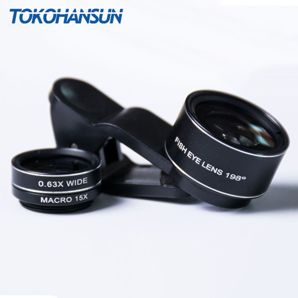 TOKOHANSUN Mobile Phone Lens 3in1 Kit Universal Clip Smartphone Camera Lenses Wide Angle Macro Fish Eye for IPhone 7 6s Samsung