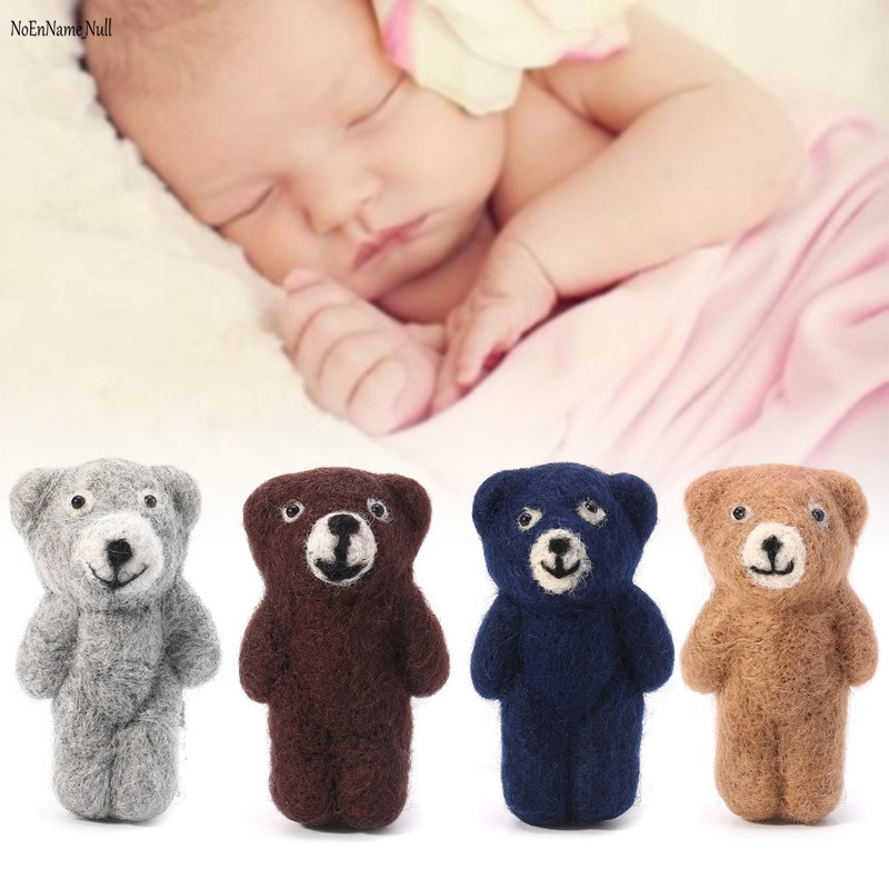 NoEnName-Null Newborn Photography Props Accessories Felt Knit Teddy Bear Infant Handmade Toy noenname