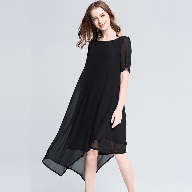 2018 Plus Size Fashion Women Chiffon Asymmetrical Dresses Summer