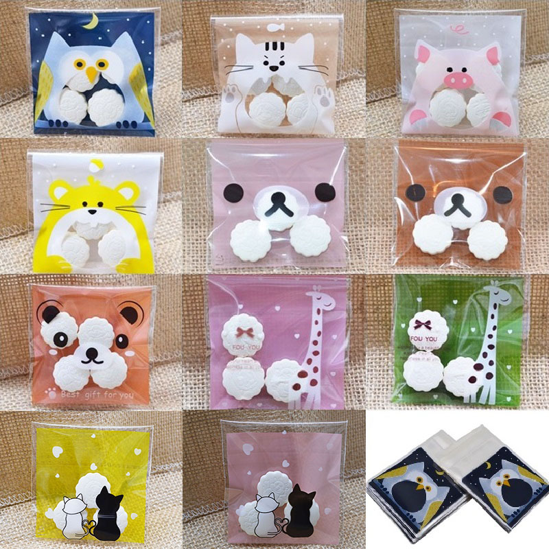 100pcs Cute Cartoon Gifts Candy Bag For Christmas Wedding Birthday Cookies Biscuits Packaging Self-adhesive OPP Bags Baking Pack