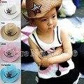 Лето мода малыш соломы ковбойские шляпы солнце пляж шляпы детей мальчиков летом шляпы 10 шт./лот бесплатная доставка BGXS-002