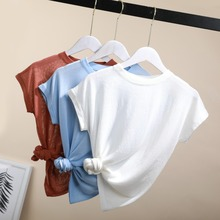 2018 slim thin knitted T Shirt for Women Summer shirt Female Semi-permeable T-Shirt o-neck casual bule OL lady cool top solid