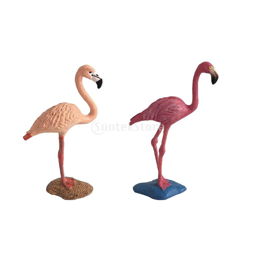 2pcs Miniature Animals Birds Model Figurine Statue Scupltue Toy Red Flamingo