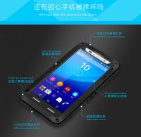 Love Mei Powerful Case For Sony Xperia Z3 Shockproof Silicone Metal Aluminum Back Cover with Tempered Glass for Xperia Z4/E6533