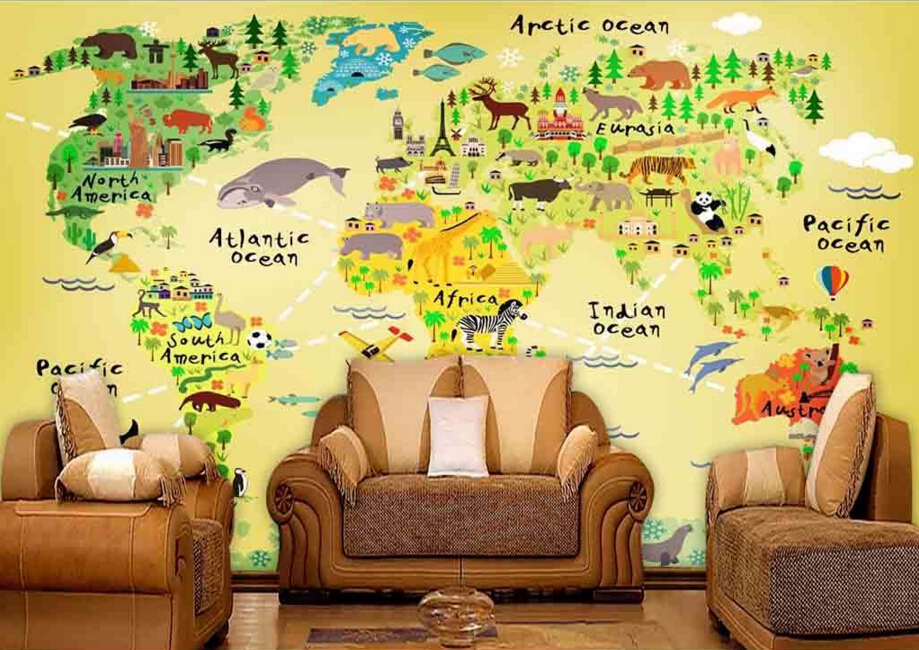 Custom papel de parede infantil,National iconic animals and map,cartoon for children's room park living room wall vinyl paper custom papel de parede infantil space shuttle orbiting earth 3d cartoon mural for children room bedroom wall vinyl wallpaper